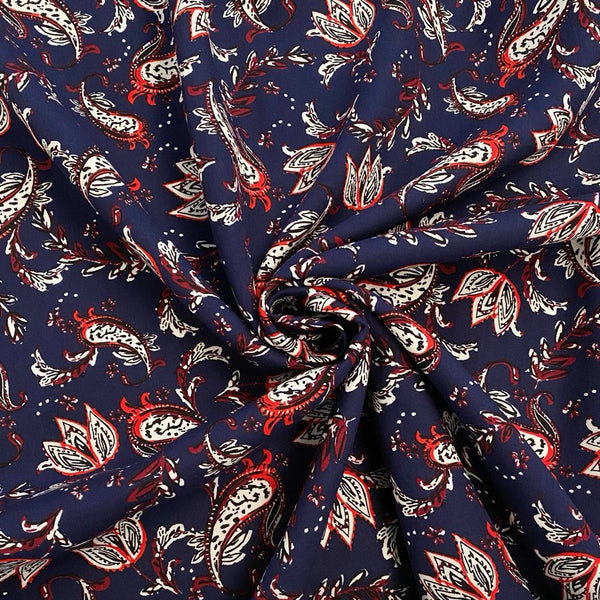 Navy Floral Double Border Viscose Fabric