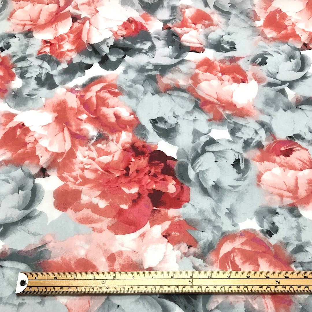 Red and Grey Floral Chiffon Fabric