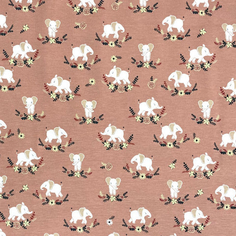 Mini Elephants Cotton Jersey Fabric