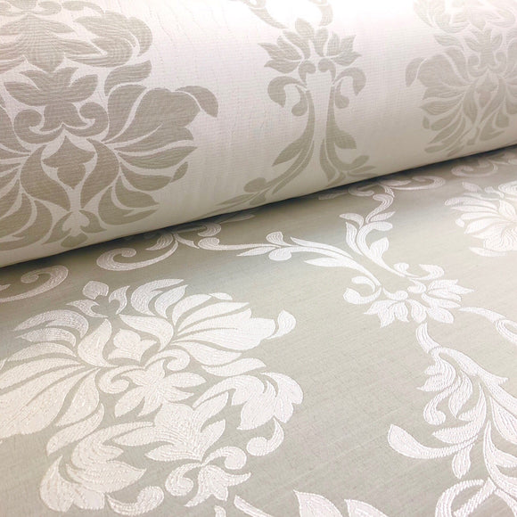 Grey and White Leaf Swirl Fabric - Pound Fabrics