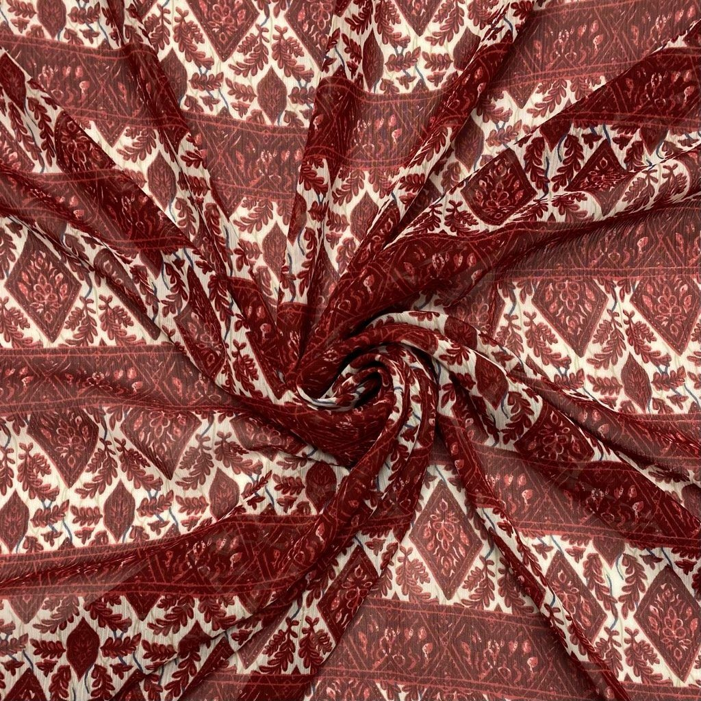 Dull Red Diamond Panels Crinkle Chiffon Fabric - 3 metres for £3