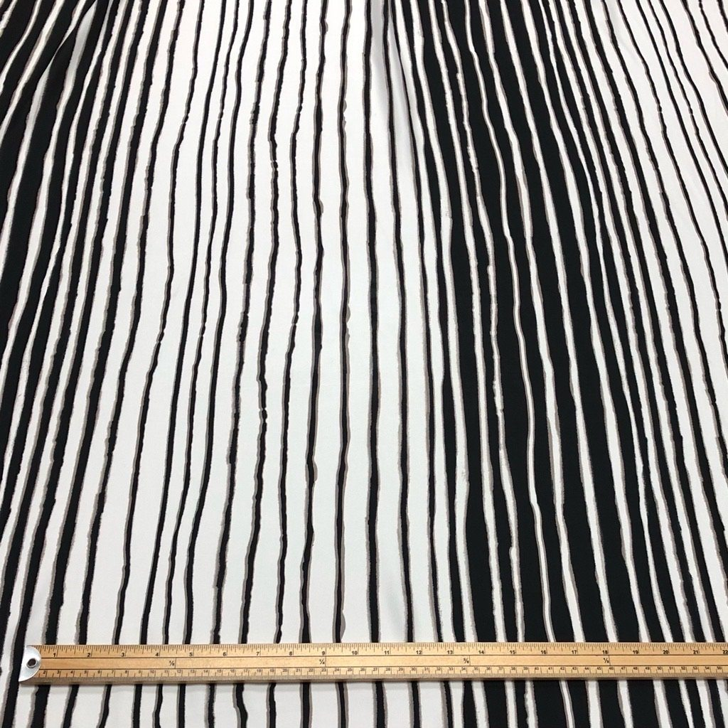Black White Beige Striped Chiffon - 3 metres for £4.50