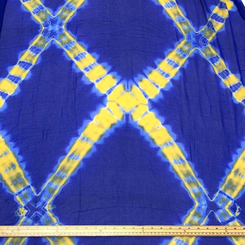 2 Metre Tie Dye Chiffon Fabric - Blue/Yellow
