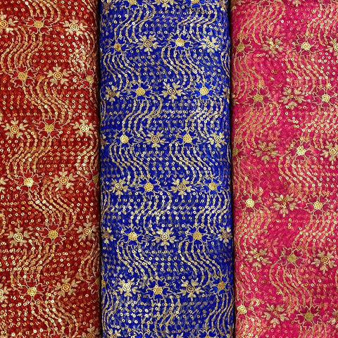 Sequin Embroidered Net Fabric