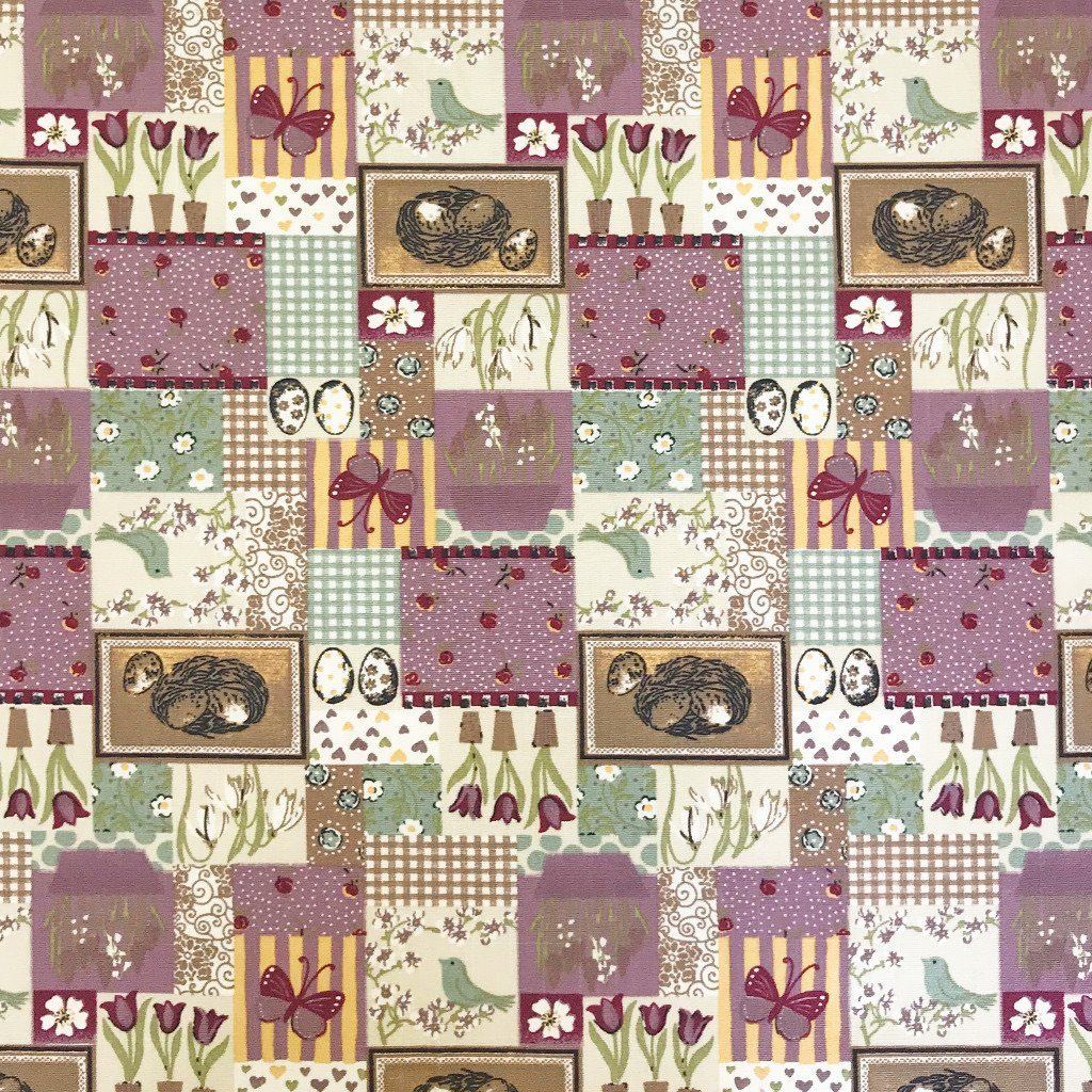 Spring Collage Cotton Canvas Fabric