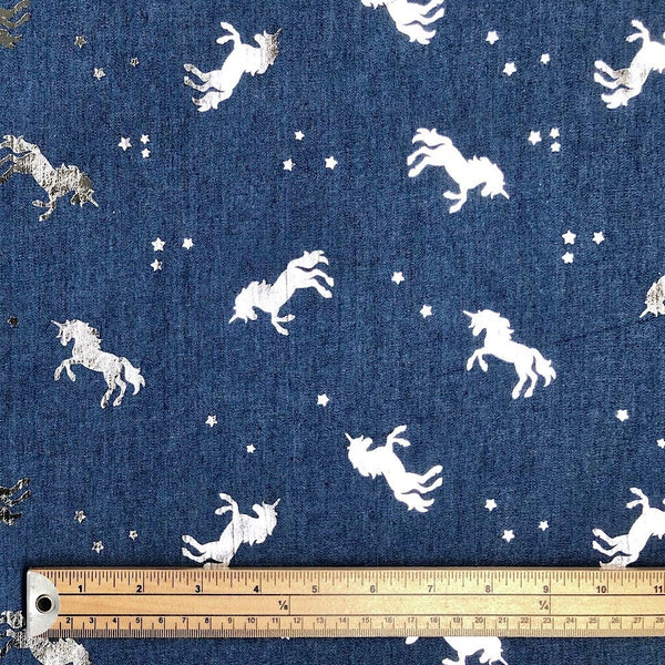 Silver Unicorns Cotton Chambre Fabric