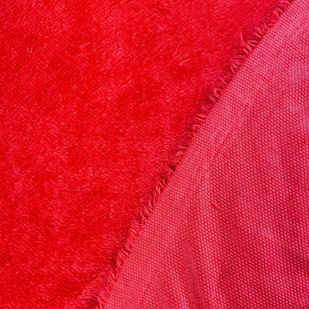 Red Furry Fleece Fabric
