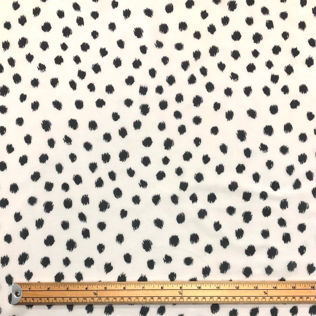 Black and Cream Leopard Spot Chiffon Fabric