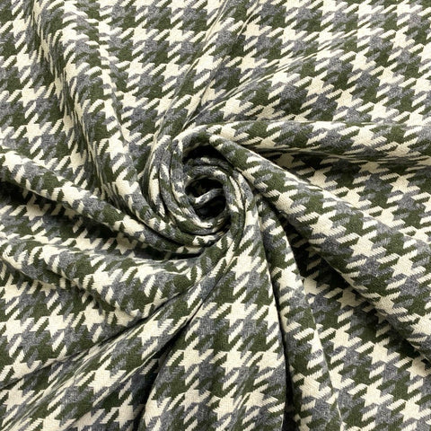 Green/Grey Dog Tooth Like Check Wool Touch Fabric