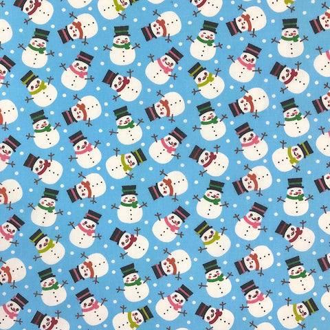 Snowmen Polycotton Fabric
