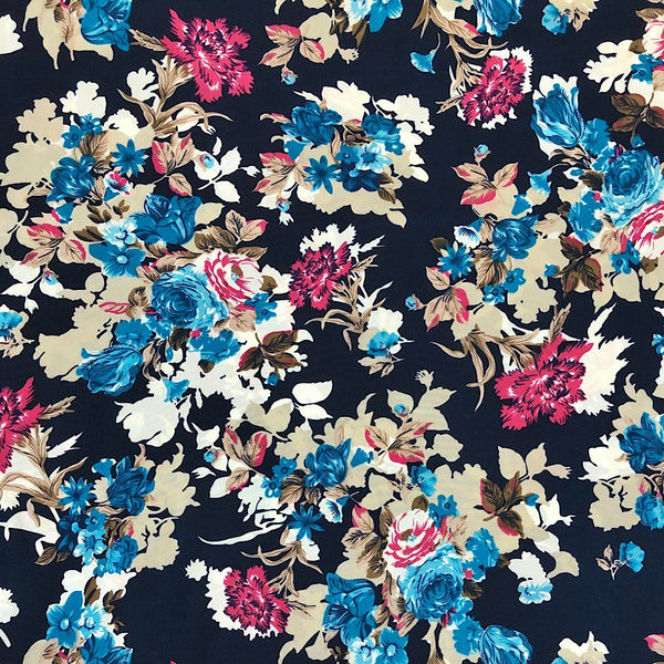 Blue Floral Soft Polyester - Print & Plain (2m each)