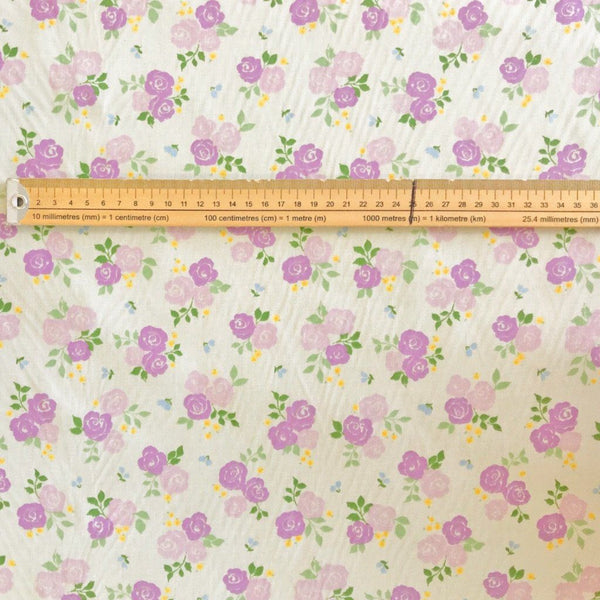 Purple Roses Polycotton Fabric