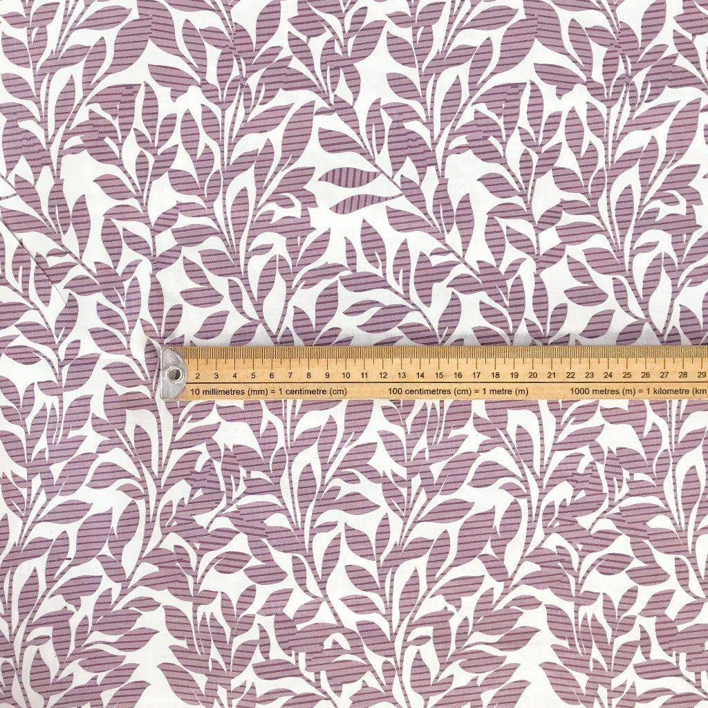 "Lilac/Pink Leaves Stripe 94"" Polycotton Fabric"