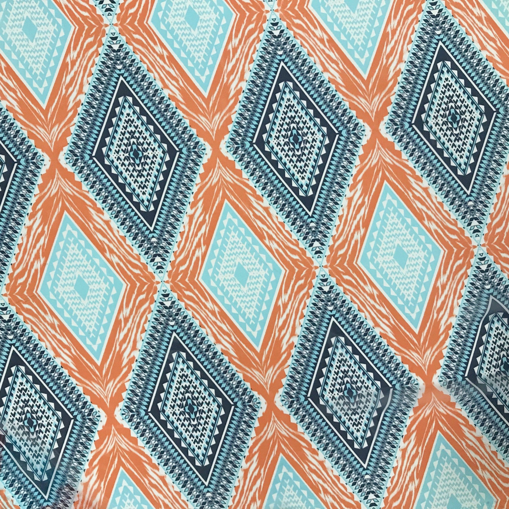 Blue/Orange Geometric Diamonds Chiffon Fabric