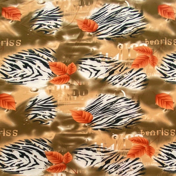 Brown - Zebra Stripes and Leaves ITY Jersey Fabric - 3 metres