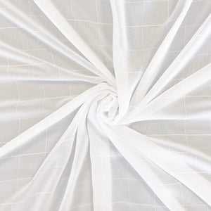 White Grid Chiffon Fabric