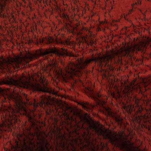 Red and Black Textured Wool Blend Fabric - Pound Fabrics