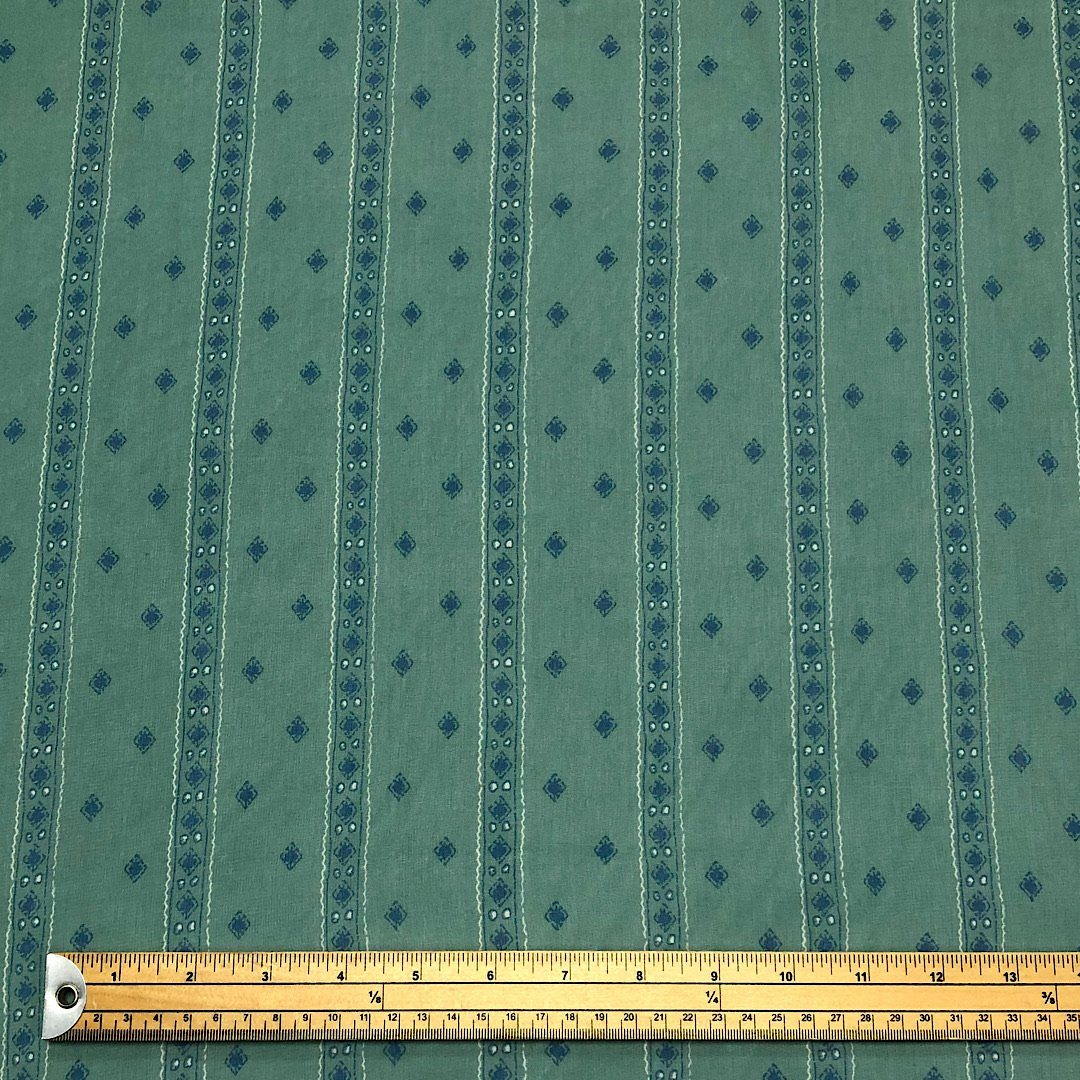 Dull Sage Green Stripe Chiffon Fabric