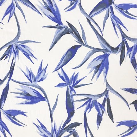 Blue and White Birds of Paradise Chiffon Fabric
