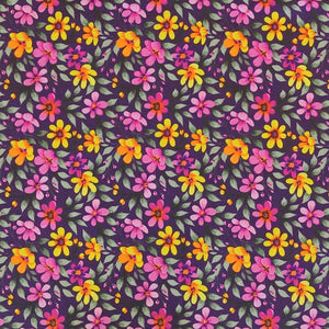 Purple Flowery Park Cotton Fabric