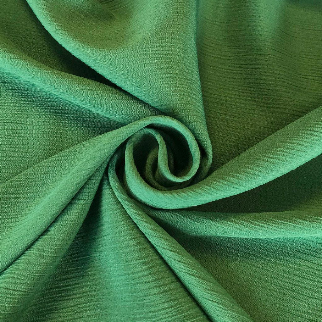 Green Crinkle Polyester Fabric