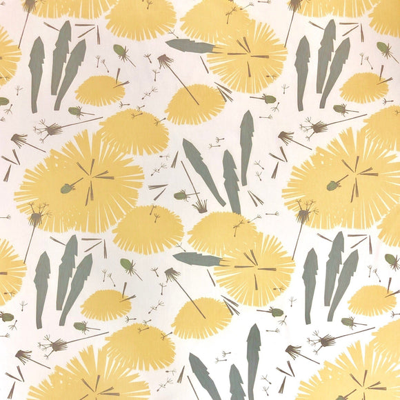 Yellow and Green Dandelion Fabric