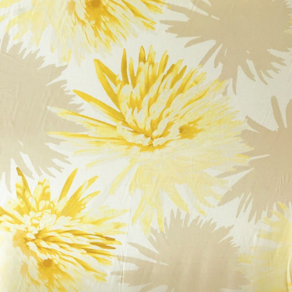 Yellow and Beige Flower Chiffon Fabric