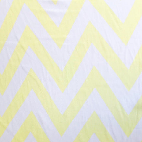 Yellow and White Zig Zag Chiffon Fabric
