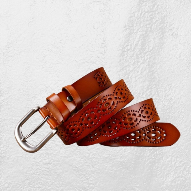 Boho Tan Eclectic Leather Belt
