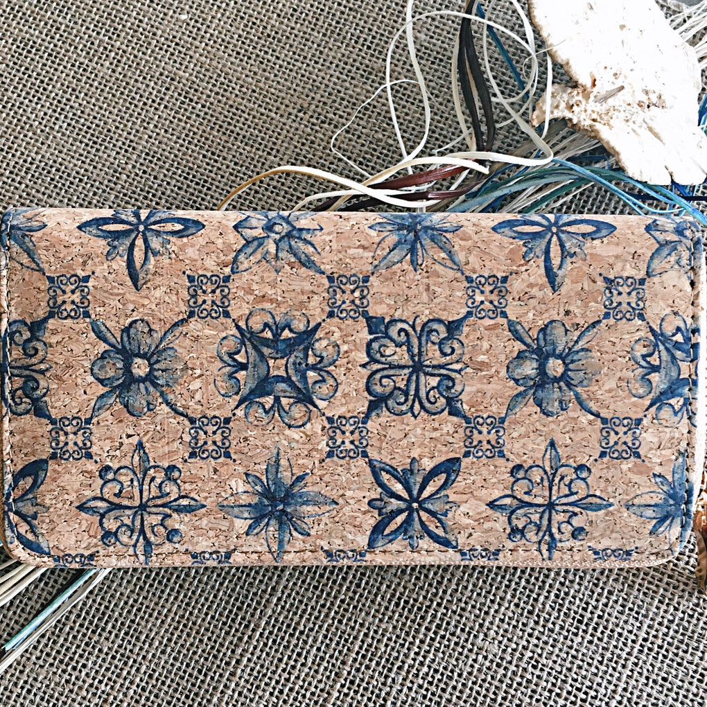 Natural Cork Blue Mosaic Tile Boho Wallet