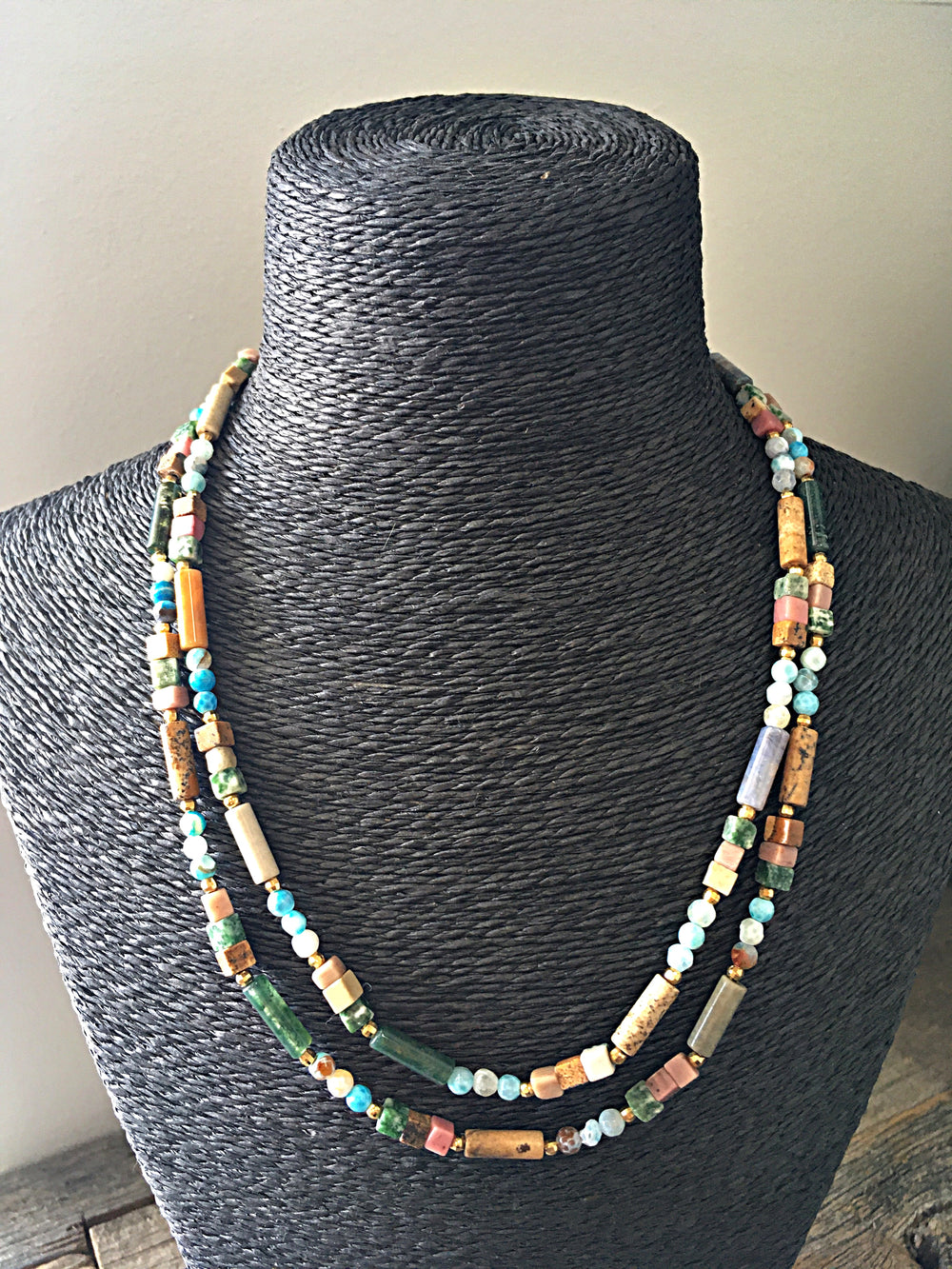 Boho Multi-coloured Double Stone Choker Necklace