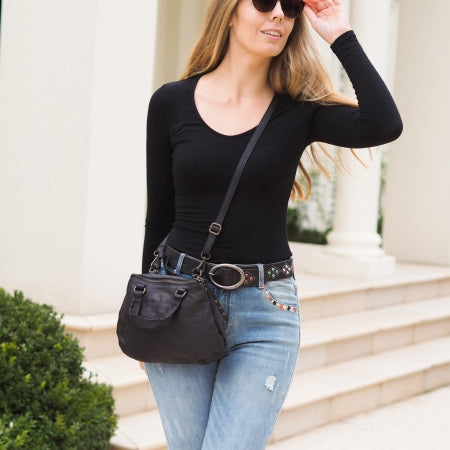 Cadelle Leather Marni Black Boho Bag