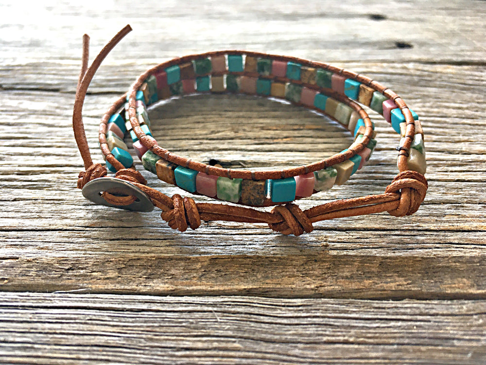 Colour Festival Leather Boho Wrap Bracelet
