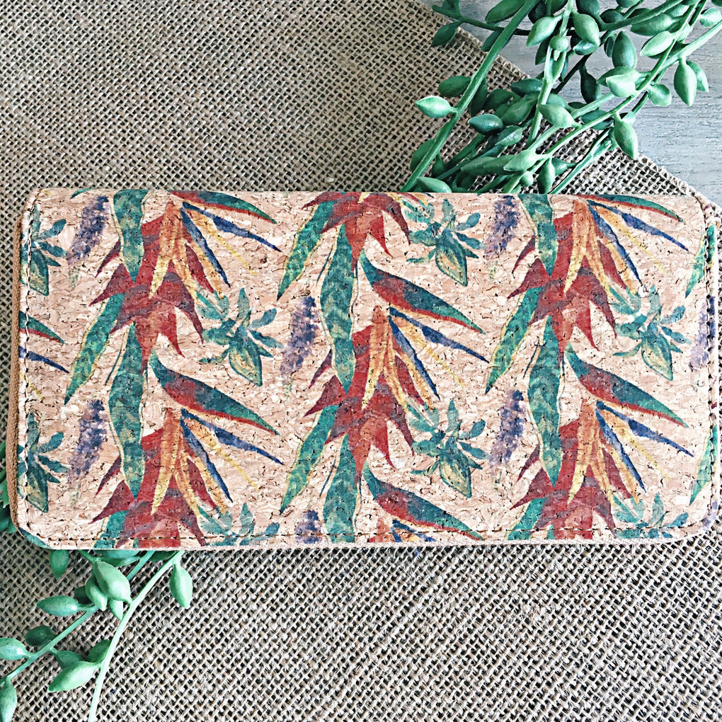 Natural Cork Tropical Vine Boho Wallet