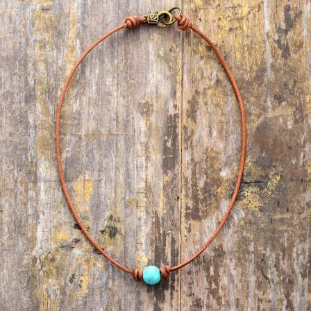Boho Turquoise Leather Choker