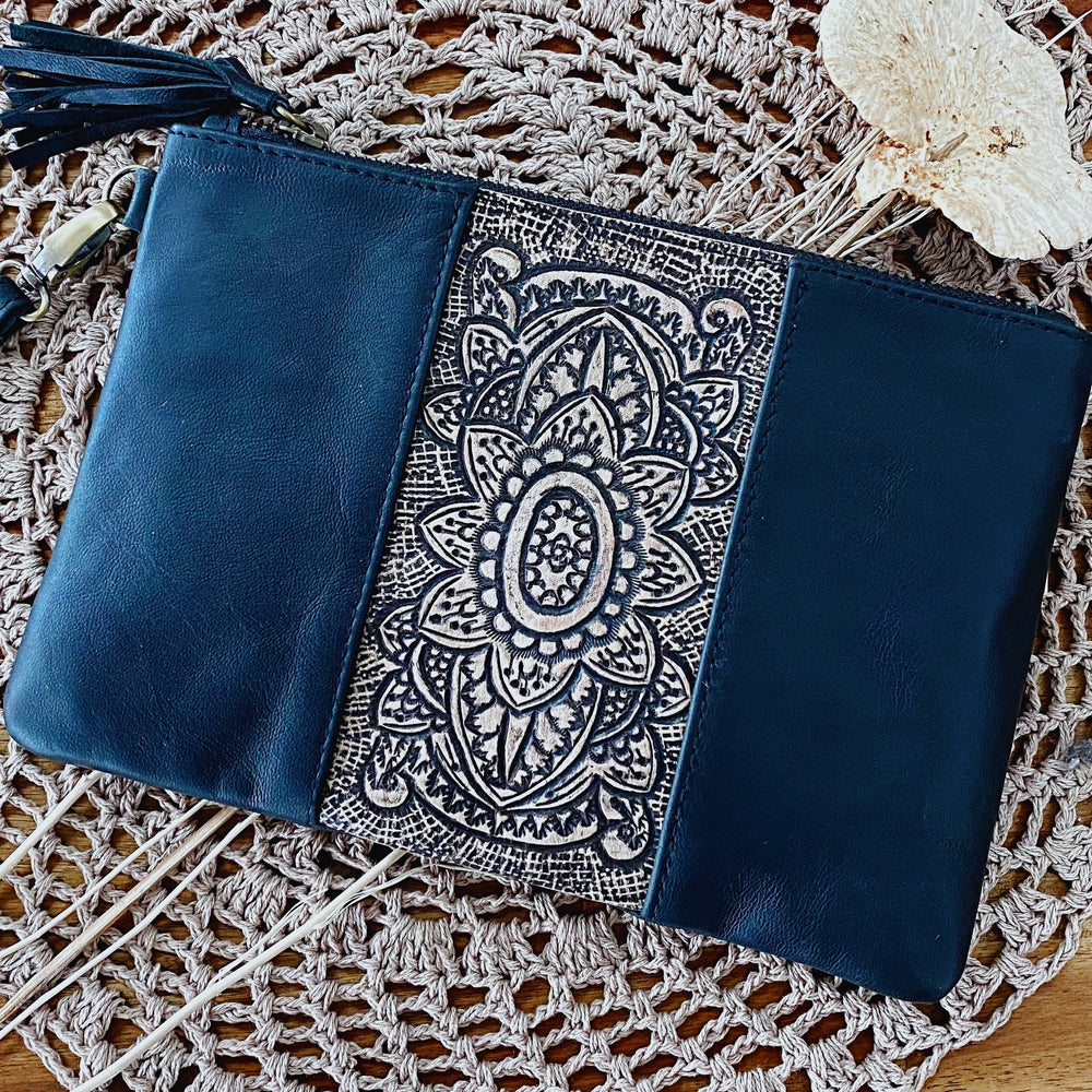 Black Boho Handtooled Sunflower Clutch/Wristlet