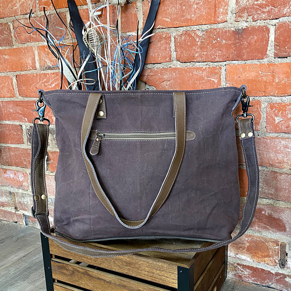Saveur Vintage Leather & Canvas Tote Bag