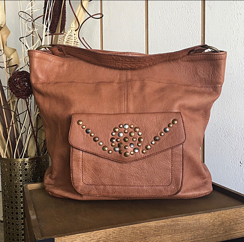 Cadelle Leather Cabo Tan Boho Tote Bag