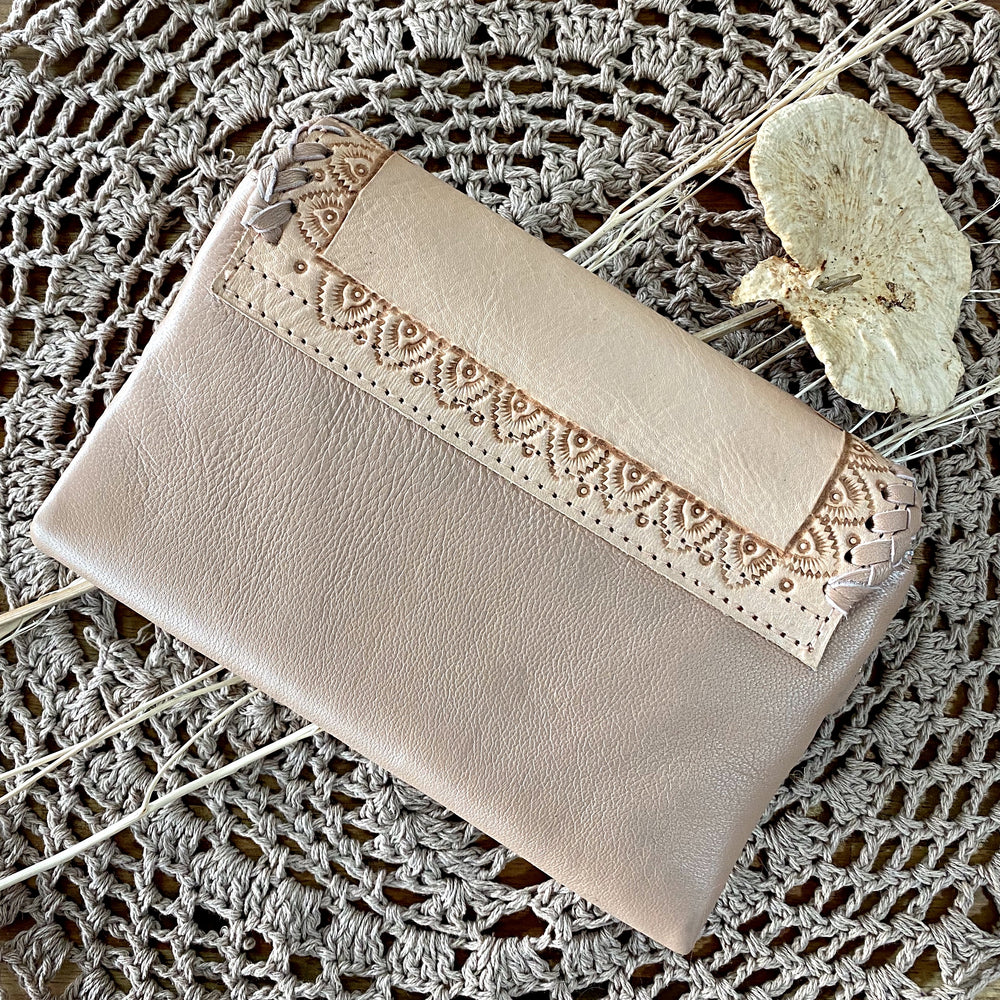Blush Boho Handtooled Rose Wallet
