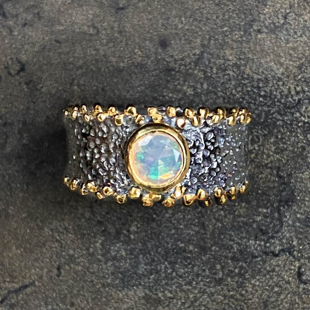 Handcrafted with Unique Designs | Sterling Silver and Gold Opal Gemstone Ring