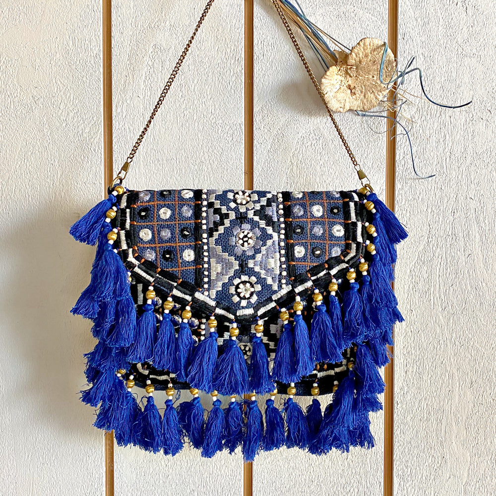 Gypsy Blue Embroidered Bohemian Bag/Clutch