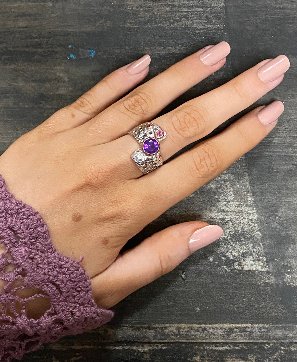 Handcrafted with Unique Designs | Sterling Silver and Rose Gold Amethyst Ring