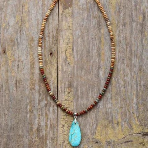 Turquoise & Jasper Boho Drop Necklace Choker