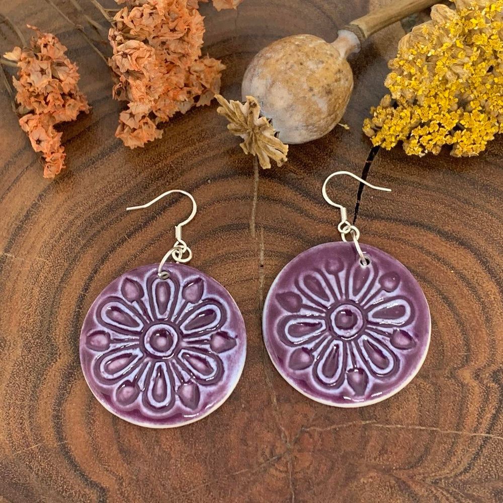 Purple Mandala Ceramic Circle Earrings