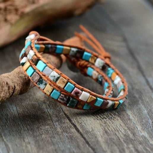 Boho Leather Stone Bracelet Soulza