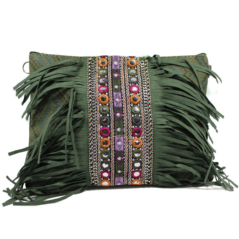 Green Fringe Bohemian Shoulder Bag