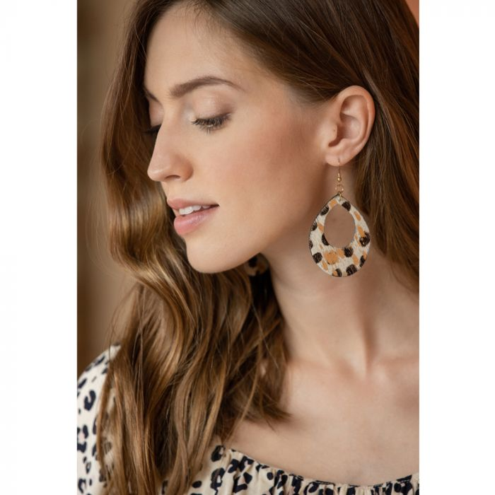 Beige Leopard Leather Teardrop Earrings
