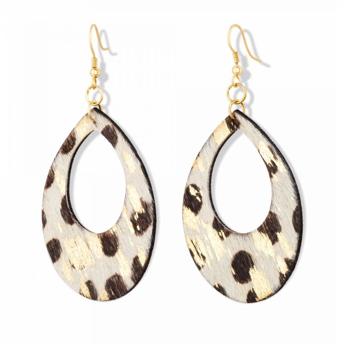White Leopard Leather Teardrop Earrings