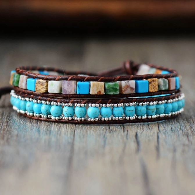 Turquoise Festival Leather Boho Wrap Bracelet