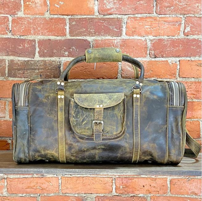 Intrepid Vintage Genuine Leather Duffle Bag - Weekender, Overnight, Gym